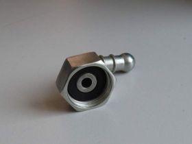 """Штуцер угловой с внутренней резьбой 1/2"""" для шланга 9 мм."""